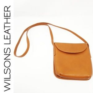 Wilsons Leather Small Brown Travel Crossbody Purse